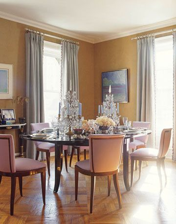 Amanda Nisbet's antique dining chairs are covered in lavender matte cotton.