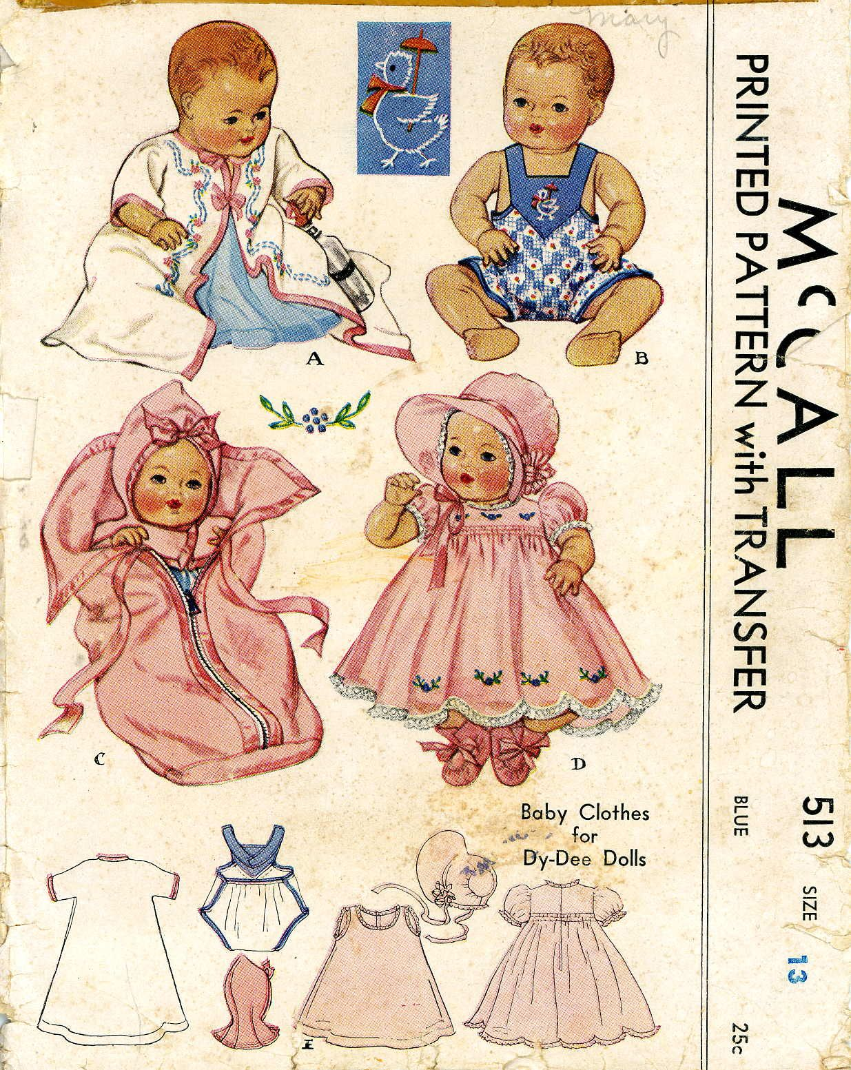 Details About Vintage Doll Clothes Pattern 513 For 13 In