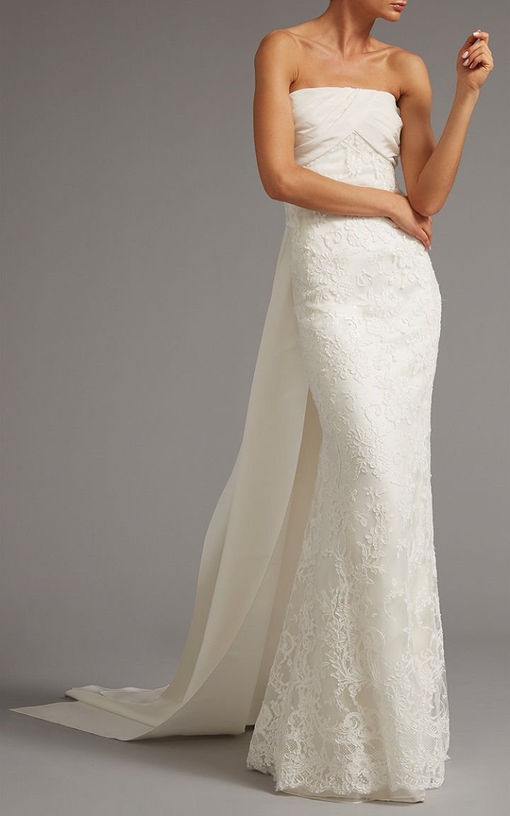 Lace Column Gown With Back Tie | itakeyou.co.uk #bridaldress #weddingdress #weddinggown #wedding #offtheshoulder