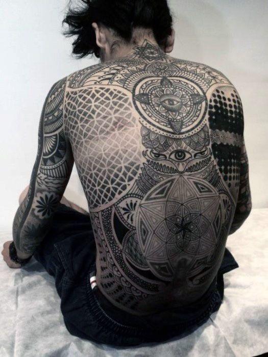 a835f0934 Amazing Black One Eyed Eastern Mandala Design Tattoo Male Full Back