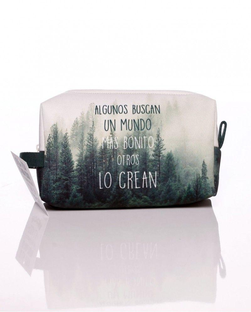 #Neseser-bolsa de mano pequeño de tela con el dibujo de un bosque