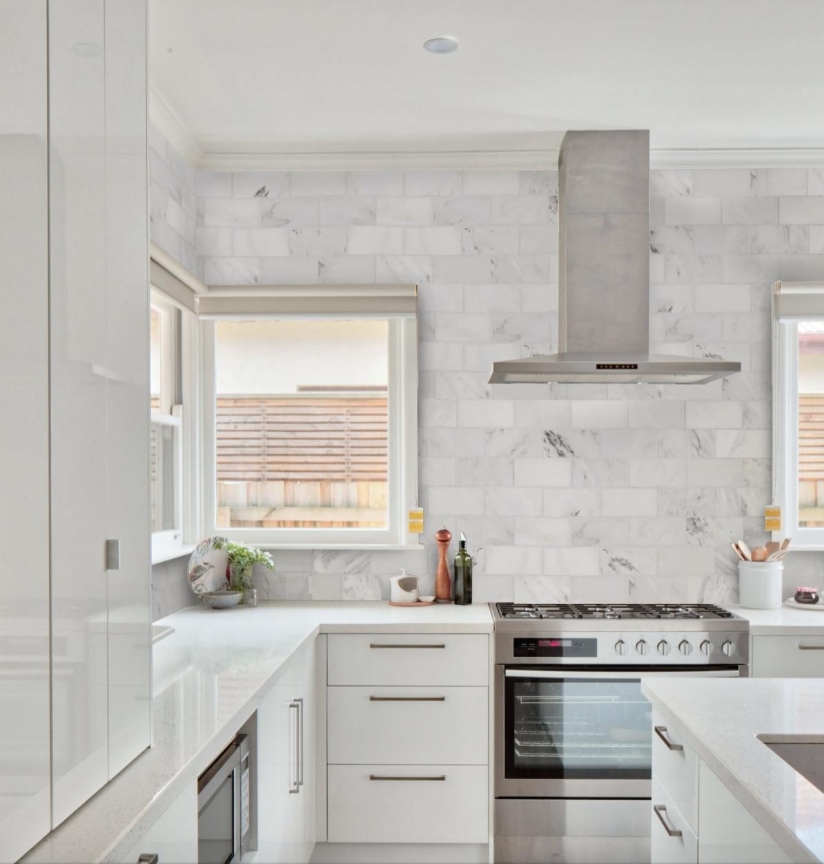 Cle Basics Carrara Oversized Subway Tile 6 X12 X3 8 Simple Kitchen Kitchen Trends Kitchen Backsplash Trends
