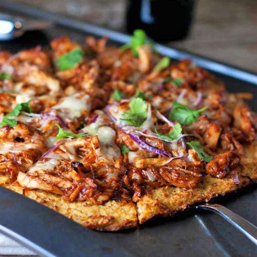 Light BBQ Chicken Pizza with cauliflower crust