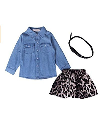 Baby Little Girls Fashion Denim Long Sleeve Tshirt Leopard Print Skirt Set 7T Blue