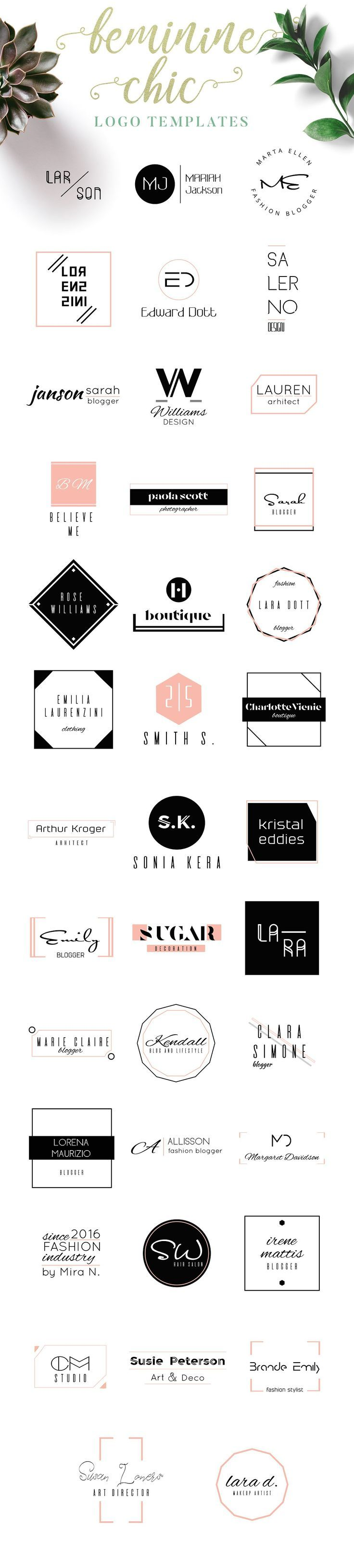 Feminine Chic Logo Templates by IsikChic on @creativemarket