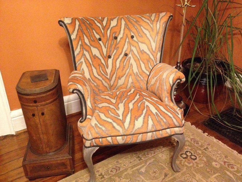 Orange Zebra Print Wingback Chair   Wingback chair, Chair ...