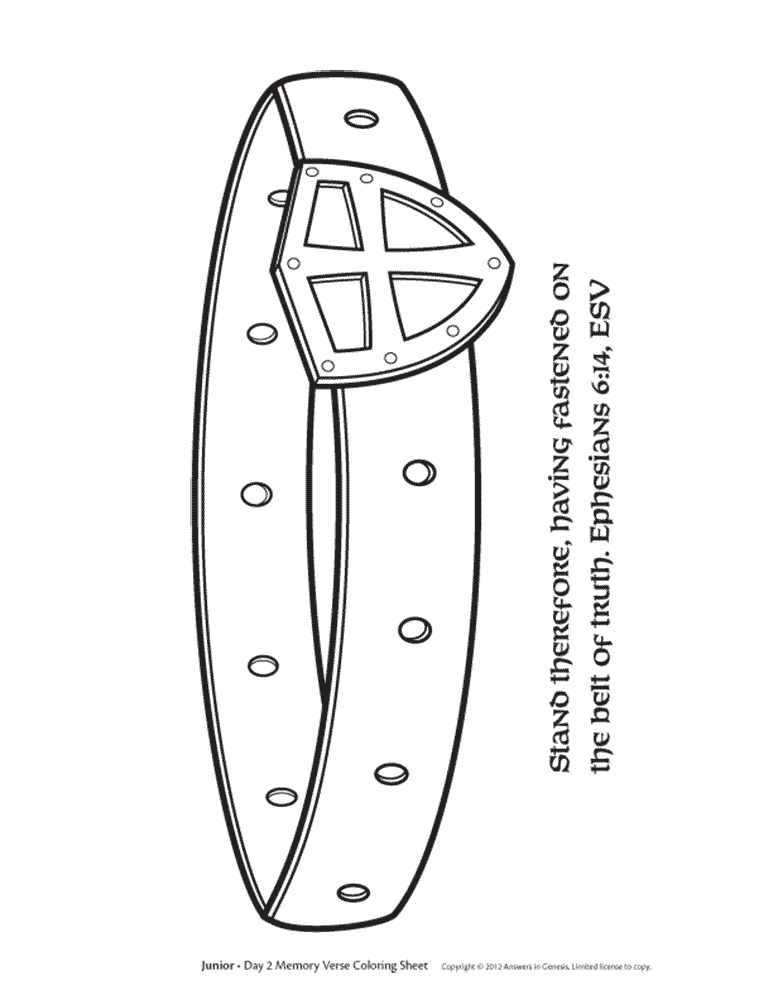 Free Belt Of Truth Coloring Page Gt Eph 6 Verses For Cycle Belt Coloring Pages