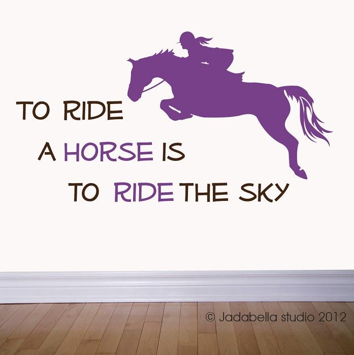 Horse jumping with Quote vinyl wall decal | If you wish to ...