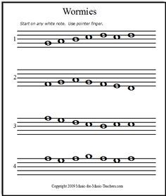 Wormies, very first introduction to note reading. This site has a ton of free sh… – Lindsey