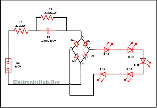 mains operated led circuit diagram  source link: http://www electronicshub