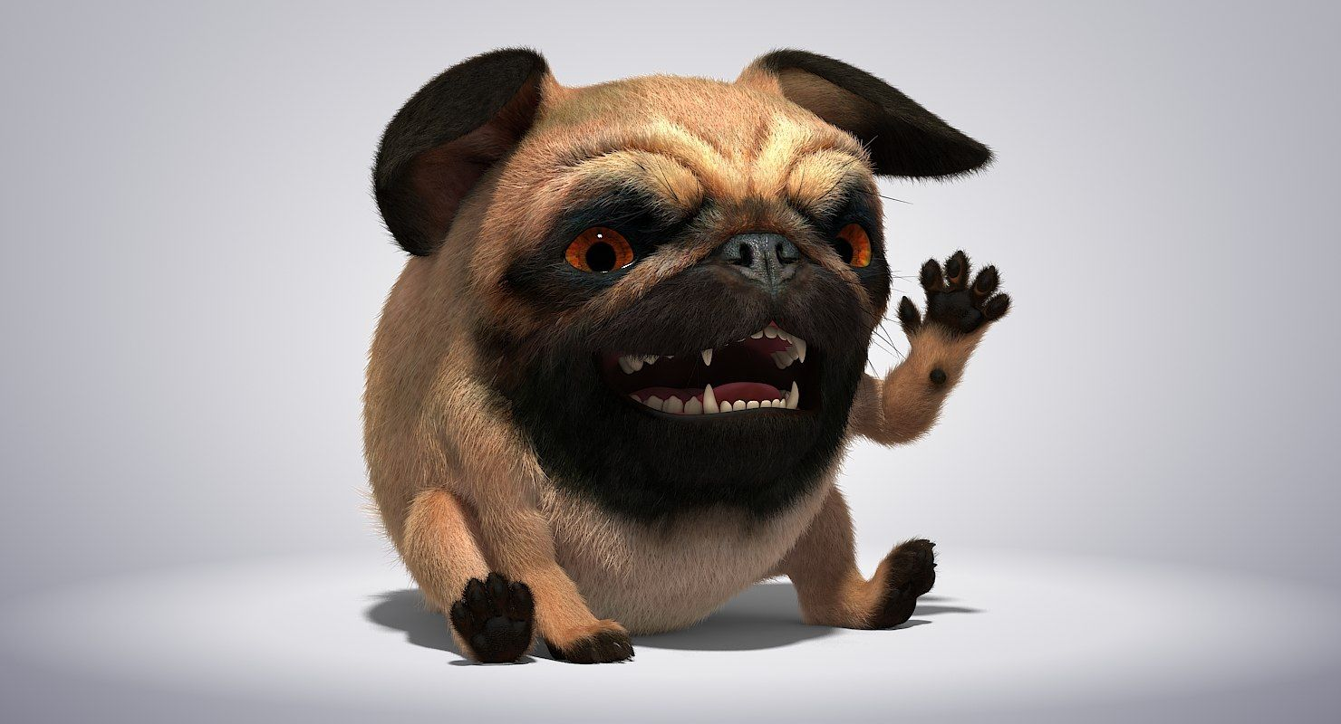 Character Rig Pug 3d Model Character Rigging Pugs Animals
