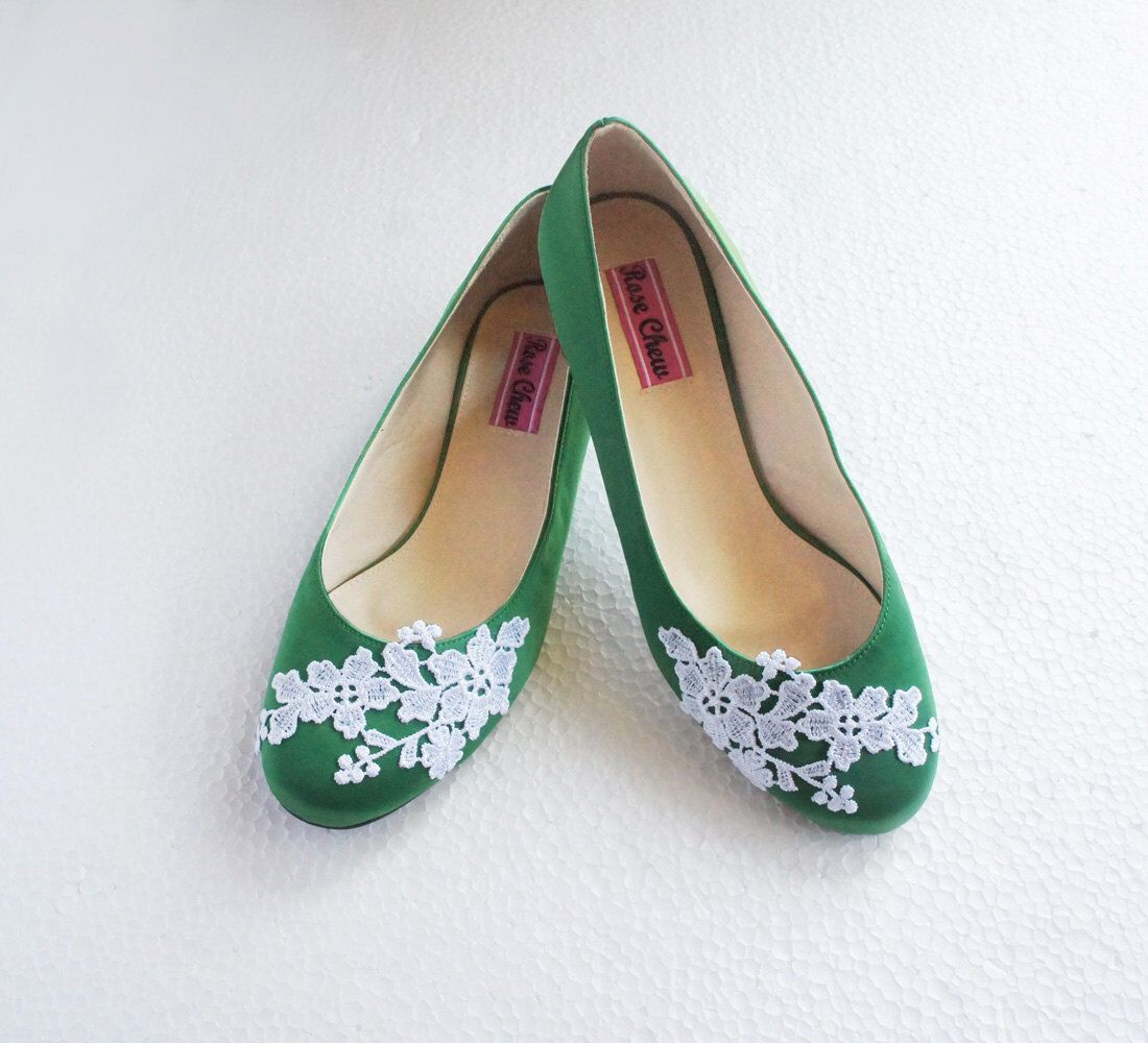 White Lace Green Satin Wedding Shoes Floral Embroidered Bridal Ballet Flats Summer Rustic Fashion Flower
