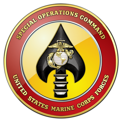The emblem of United States Marine Corps Forces Special Operations Command (MARSOC). It is a component command of the US Special Operations Command (SOCOM) that comprises the Marine Corps' contribution to SOCOM.