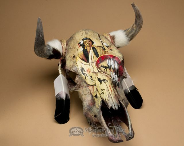 This is an exceptionally beautiful steer skull wall hanging with hand painted…