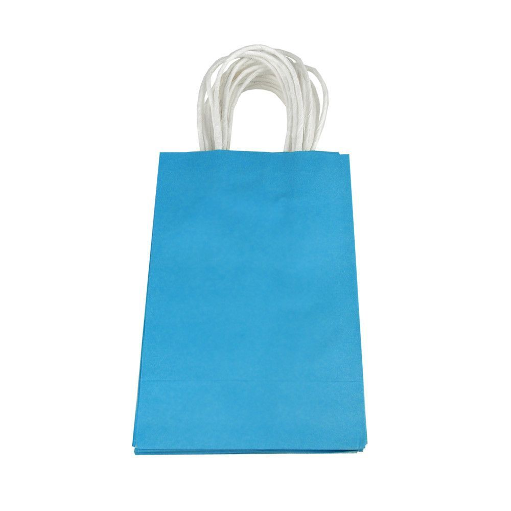 Solid Color Paper Treat Bags, White Handle, 8-1/4-Inch x 5-1/4-Inch, 10-Piece