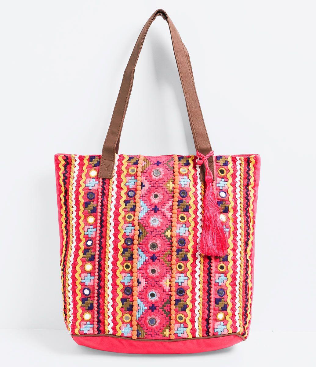 Bolsa Feminina Em Tecido : Bolsa feminina modelo sacola com bordados marca blue