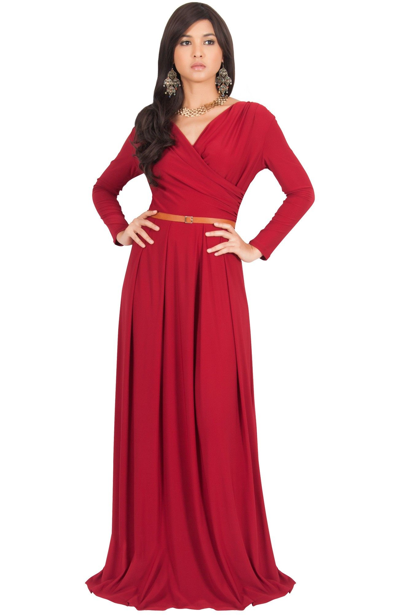Leah long sleeve crossover designer maxi dress homecoming