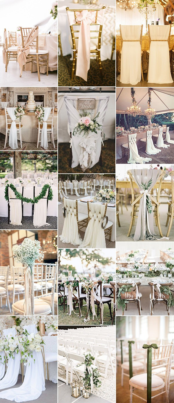 20 Elegant Wedding Chair Decoration Ideas with Fabric and Ribbons ...