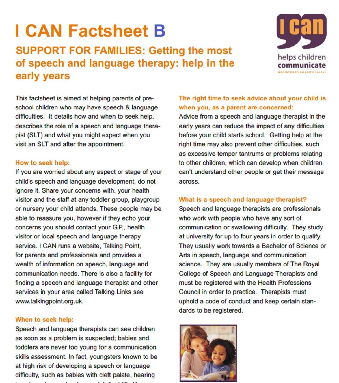 Speech And Language Therapy In The Early Years This Factsheet Is