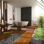 Breathtaking Tiny House Bathroom Interior Design with Grey Rug on Wooden Flooring Idea