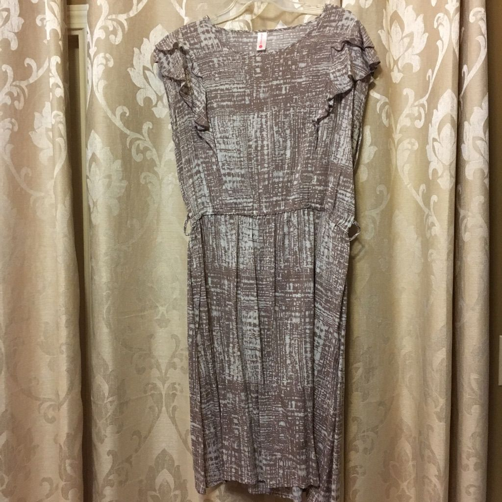 Career Tan Abstract Pattern Dress Size Large