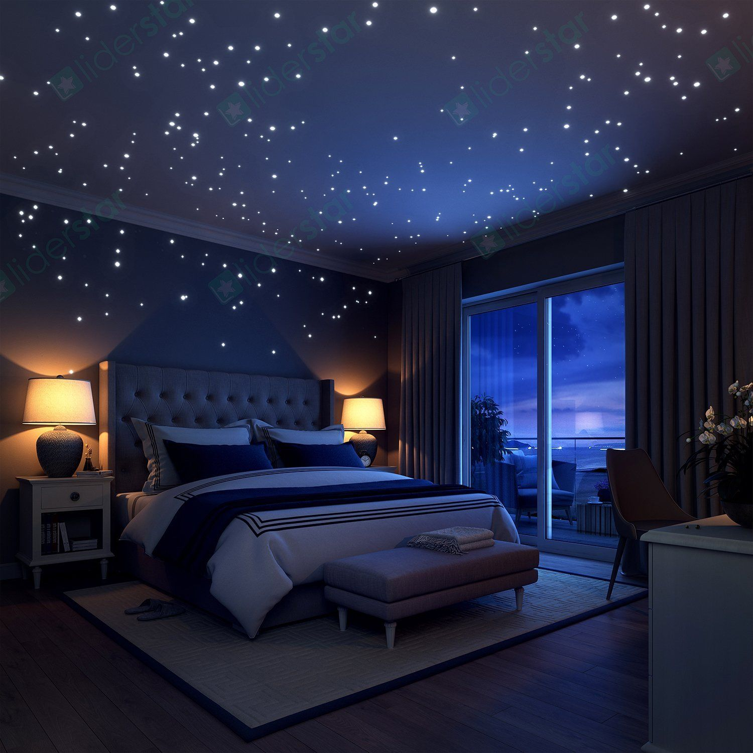 Glow In The Dark Stars Wall Stickers 252 Dots And Moon For Starry