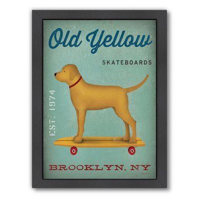 Americanflat 'Golden Dog Skateboard' by Wild Apple Framed Vintage Advertisement Size: