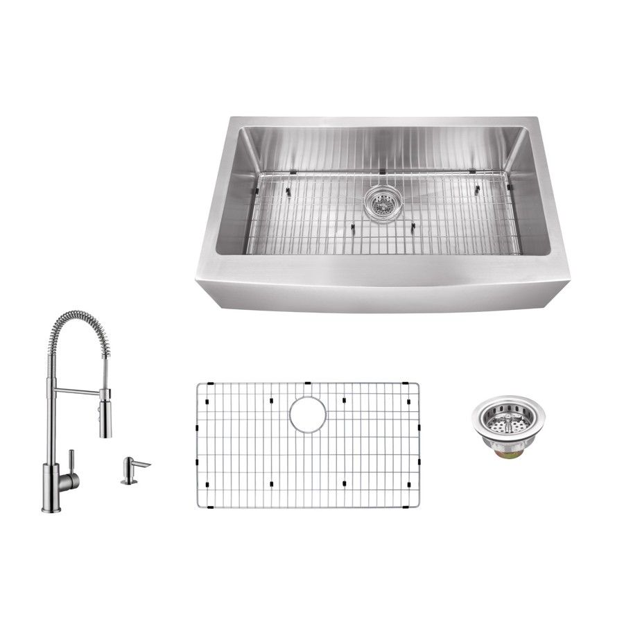 33 In X 20 In Brushed Satin Single Basin Stainless Steel Apron Front Farmhouse Residential Double Bowl Kitchen Sink Single Bowl Kitchen Sink Apron Sink Kitchen