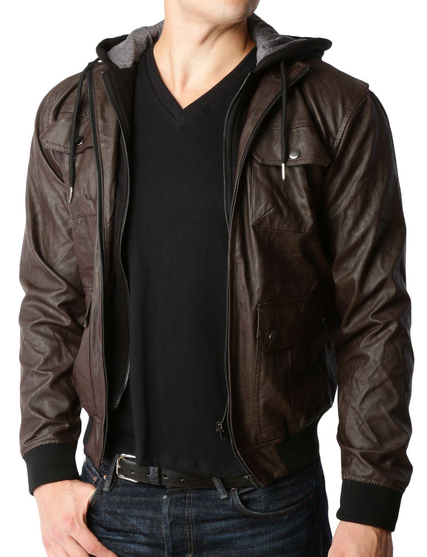 LE3NO Mens Faux Leather Zip Up Moto Jacket with Detachable