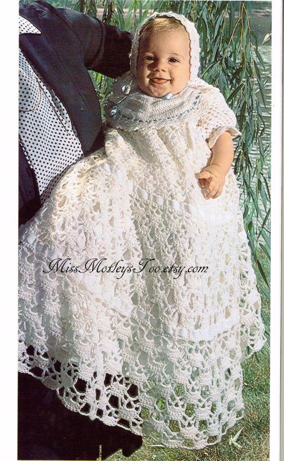 Christening crochet pattern baby 3 piece set dress hat bib immediate ...