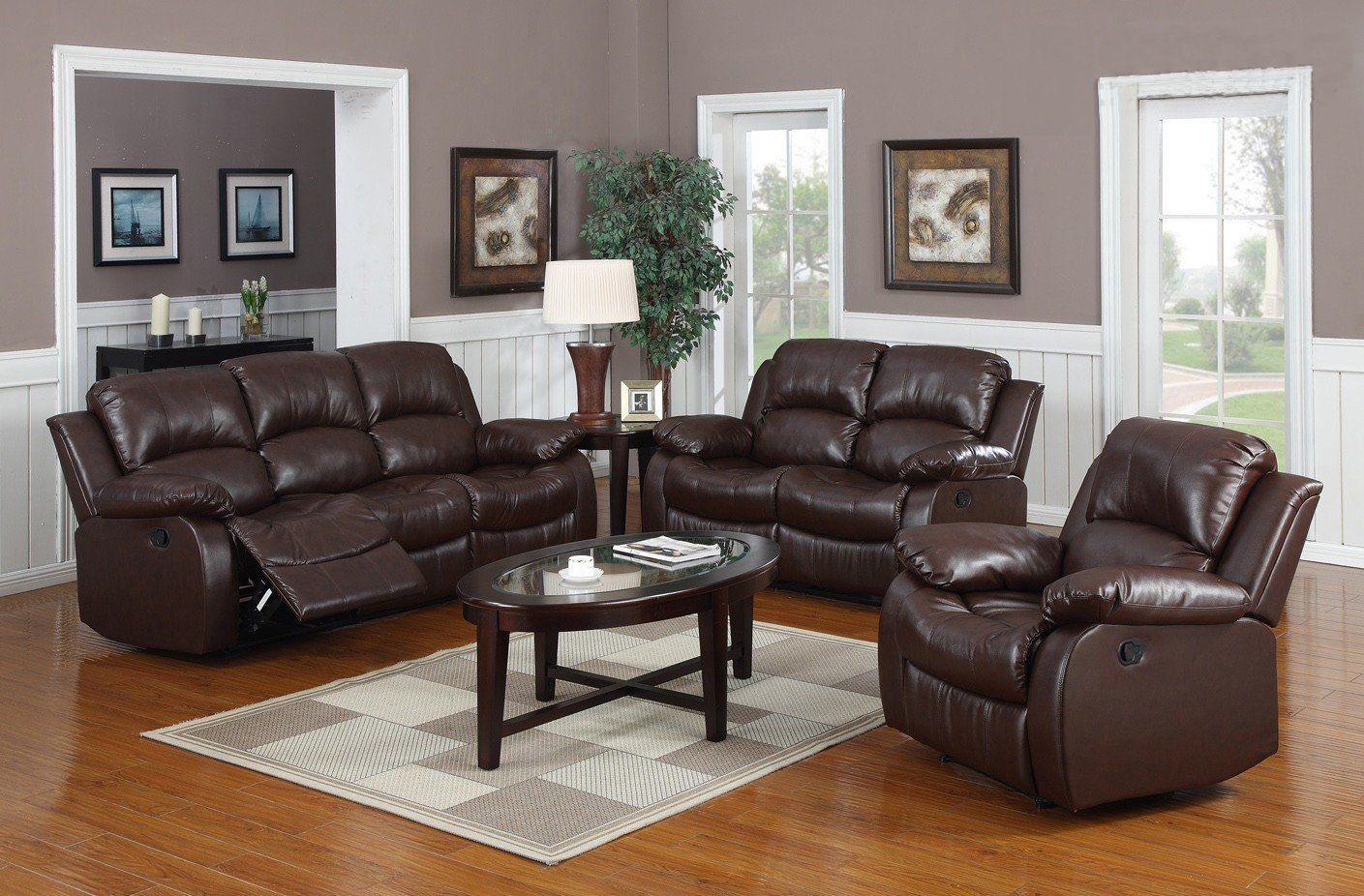 Huntington 3 Pc Bonded Leather Sofa Loveseat Chair Set With 5 Recliners Dimensions Leather Living Room Set Living Room Leather Living Room Sets Furniture