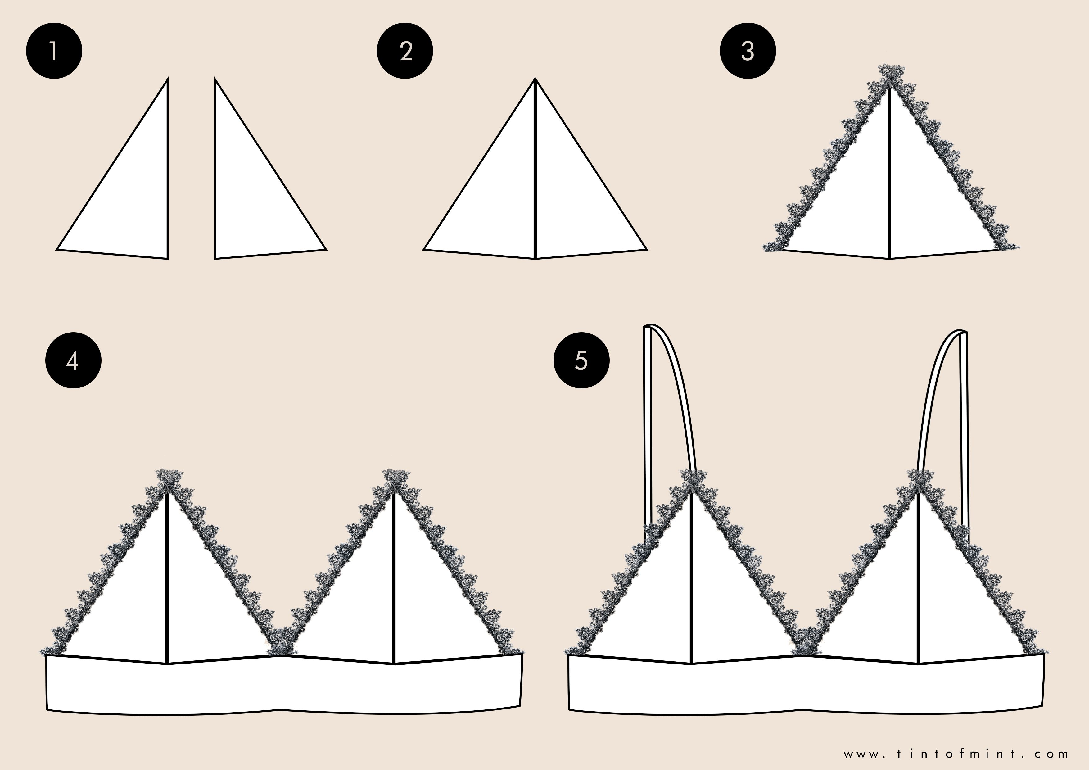 Triangle lace bras