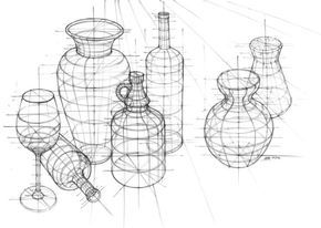Perspective study of still life made in pencil by Katarzyna Kmiecik (me) in 2012. Its a very interesting linear sketch of bottles, jugs and
