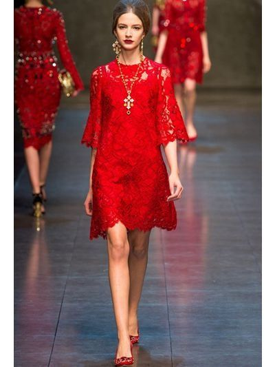 Women's Red Macramè Lace Dress | Red, Haute couture and Red fashion