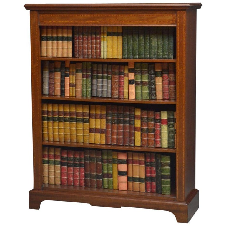 1stdibs Mahogany Antique Inlaid Open Edwardian English Bookcase Victorian Bookcases Open Bookcase Bookcase