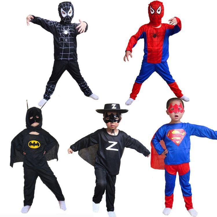 3pcslot kids boy costume halloween children boys halloween costumes super heroes zorro batman superman spiderman costume for kids boys hc10 - Heroes Halloween Costumes
