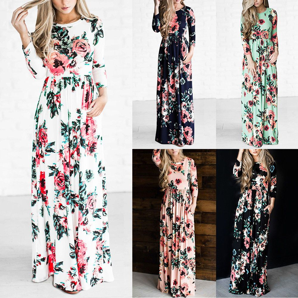 c14495ecb47e Awesome Great US Women BOHO Floral Print Beach Dress Lady Evening Party  Long Sleeve Maxi Dress
