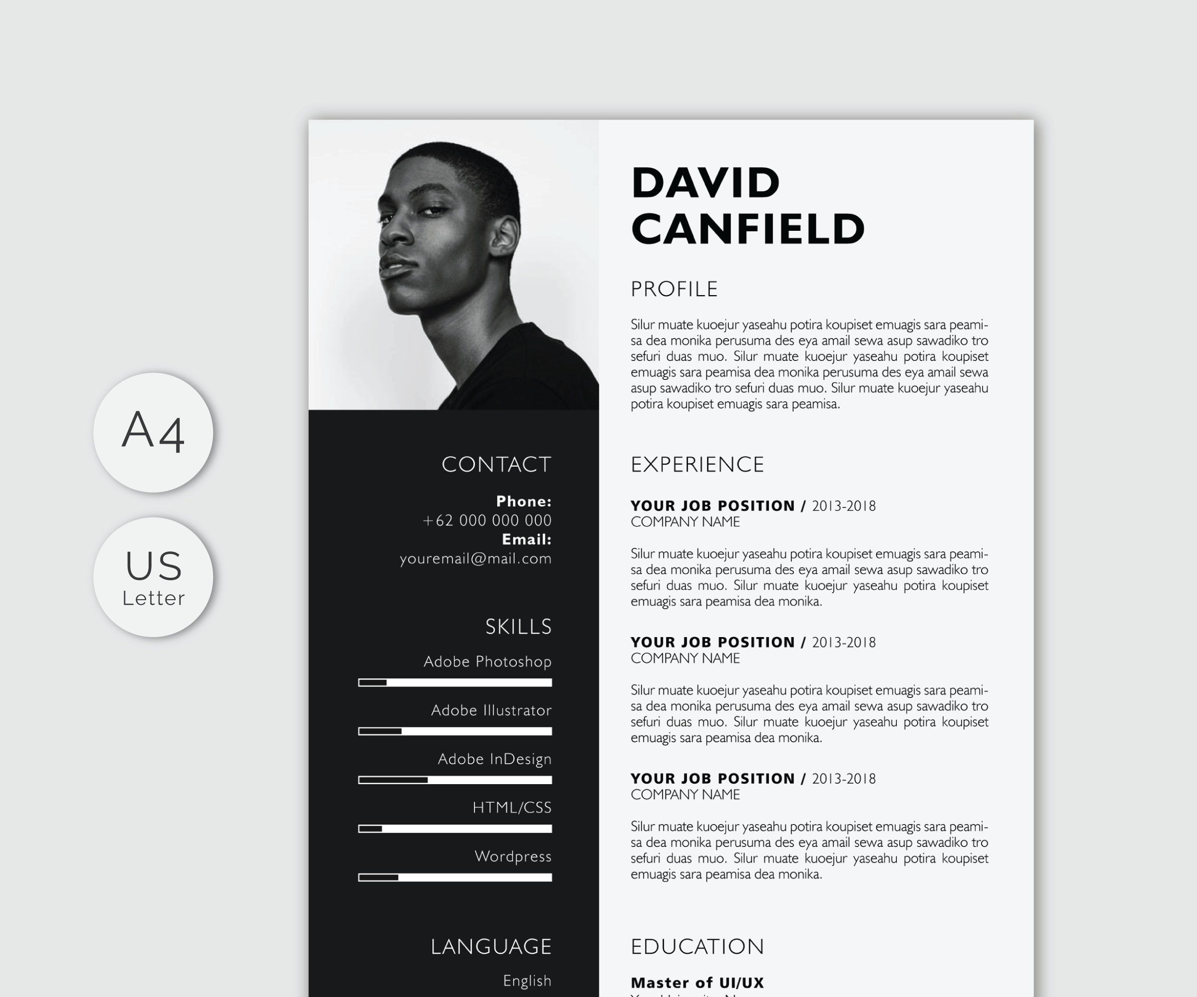 Professional Resume Template For Microsoft Word With Cover Etsy Exemple Cv Template Cv Cv Inspiration