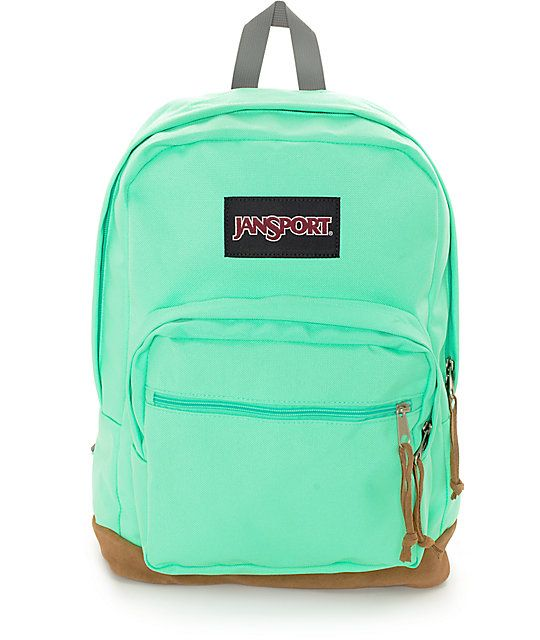 Let your colors shine with this Right Pack seafoam green backpack from  Jansport. A minty seafoam green colorway has a large 31 liter compartment  with two ... 6a621e809e168