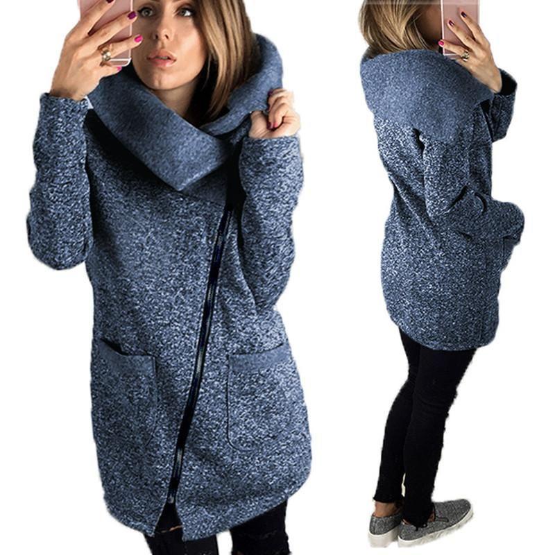 turn-down collar side zipper coats autumn winter casual jackets