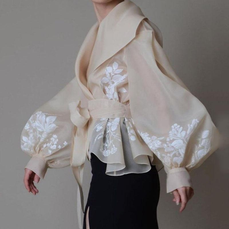 Women Elegant Flower Lantern Sleeve Shirt 2