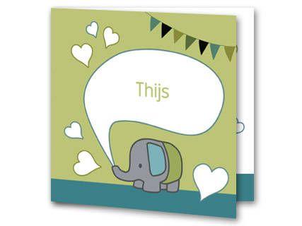 Een geboortekaartje voor een jongetje met een klein grijs olifantje. Uit de slurf van de olifant komt een tekstwolkje voor de naam van je baby. Om de tekstwolk staan witte hartjes. De achtergrondkleur is groen met een blauwe balk aan de onderkant. Bovenin de hoek hangt een slinger. Aan de binnenkant van het geboortekaartje is de achtergrondkleur wit met een blauwe balk aan de onderkant. Aan de linkerkant is het olifantje geplaatst en er zijn wat hartjes verspreid over het kaartje.