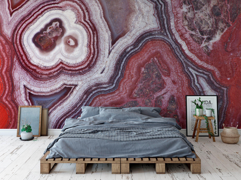 Peel And Stick Wallpaper Red Agate Wallpaper Blue Geode Etsy Peel And Stick Wallpaper Wall Murals Wallpaper