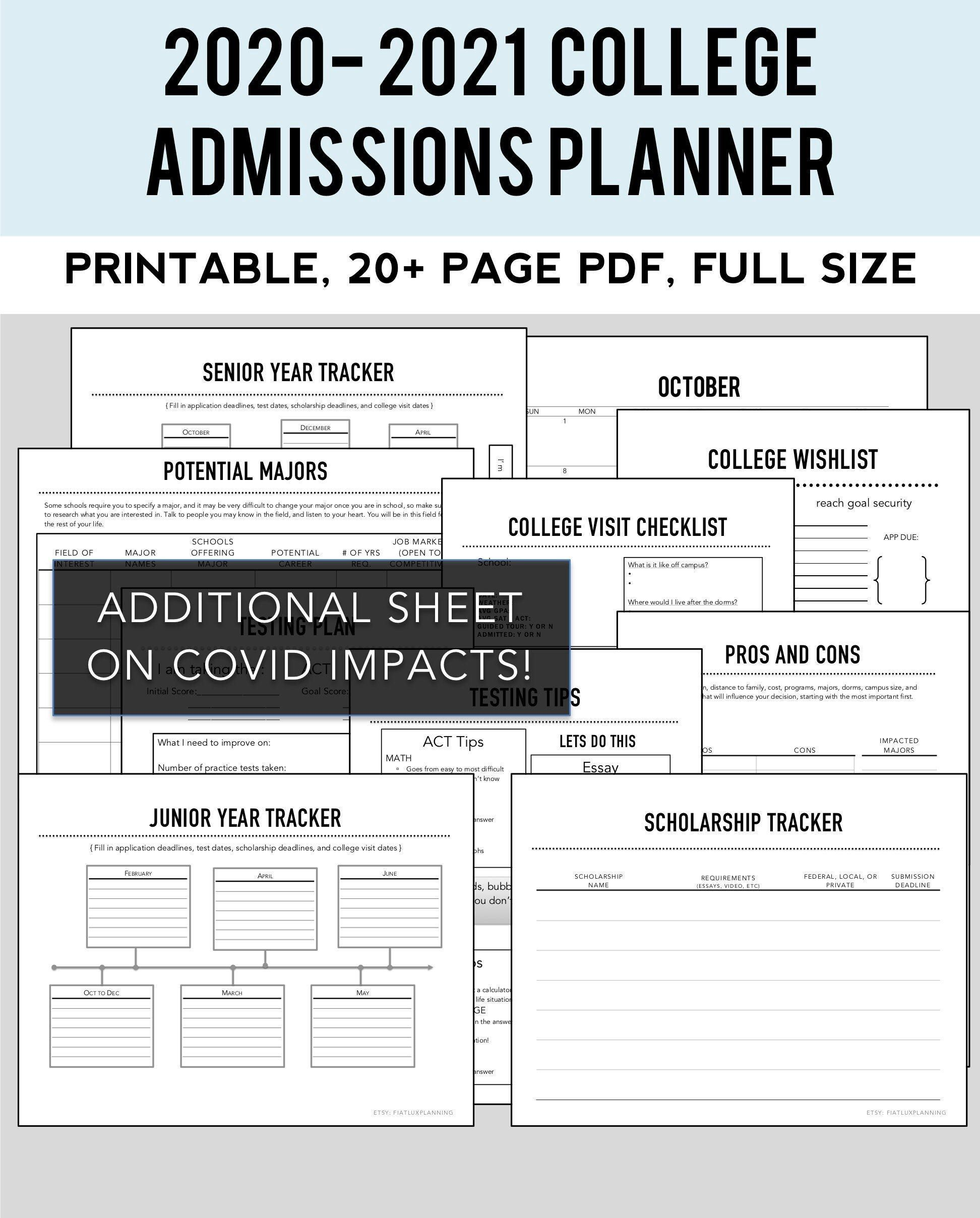 2020 2021 College Admissions Planner Etsy College Admission College Visit Scholarships For College