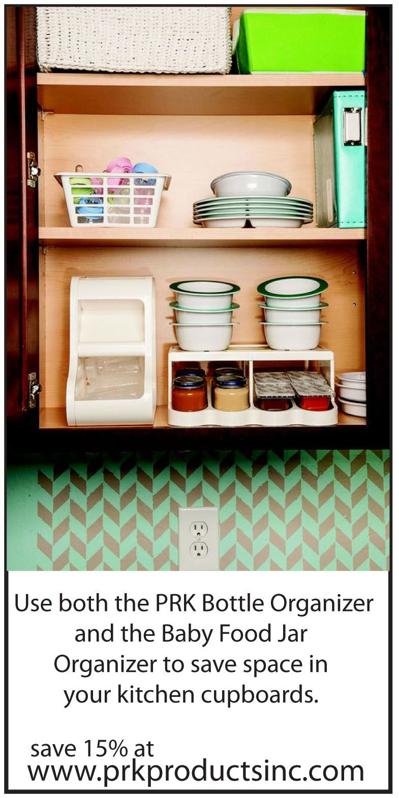 Save room in your small kitchen by storing all your baby bottles and food in one place. Save 15% off your order with code pin15 at www.prkproductsinc.com