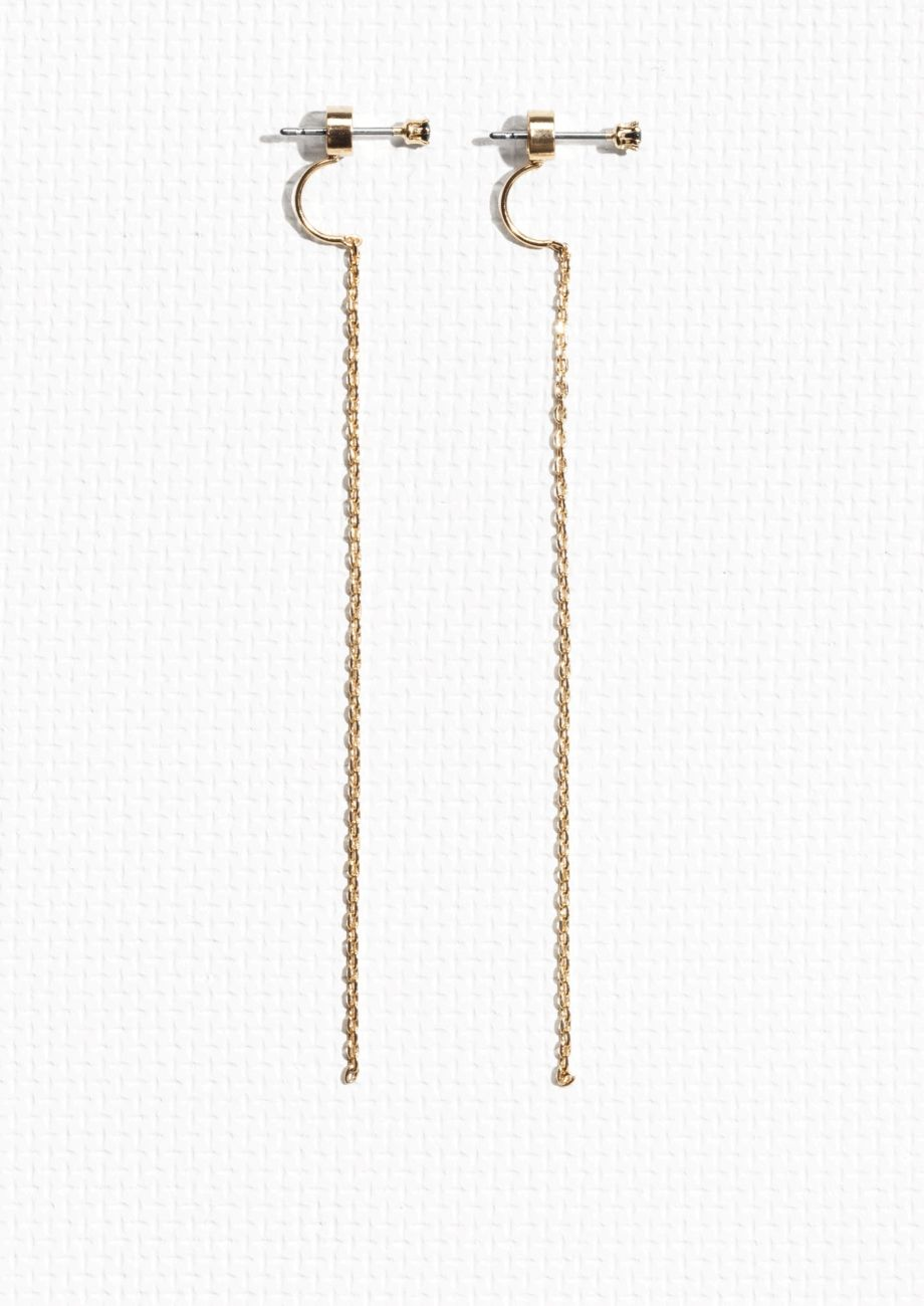 1f08eccce & Other Stories   Chain Drop Back Rhinestone Earrings   Earings ...