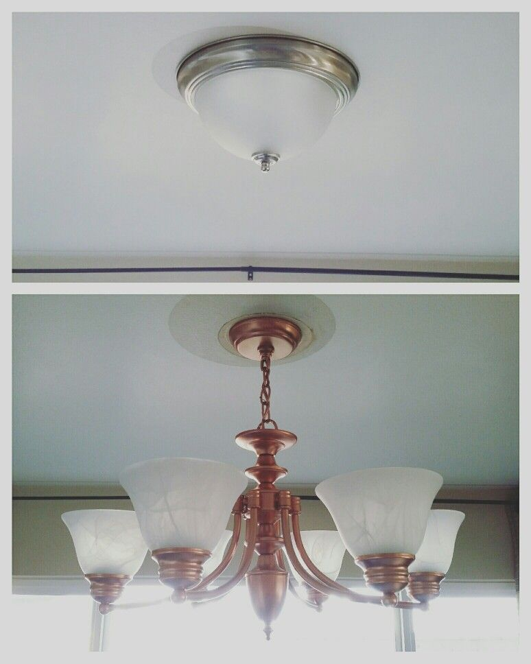 Diy Copper Metallic Painted Chandelier To Replace Dome Light Paint Brushed Nickel With Spray Remove Rewire