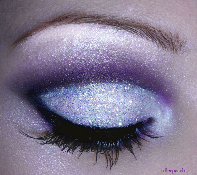 i think purple glitter lavender white on top for next years cheer make up?(: