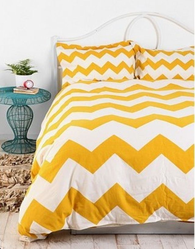 Yellow Chevron Duvet Cover W Malm Ikea Bed