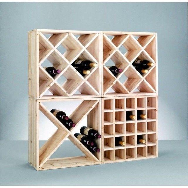 Casier rangement bouteilles vin bois pin naturel 25 bouteilles zeller en 2019   Rangement ...